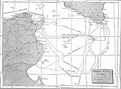 Convoy Map for Invasion of Sicily